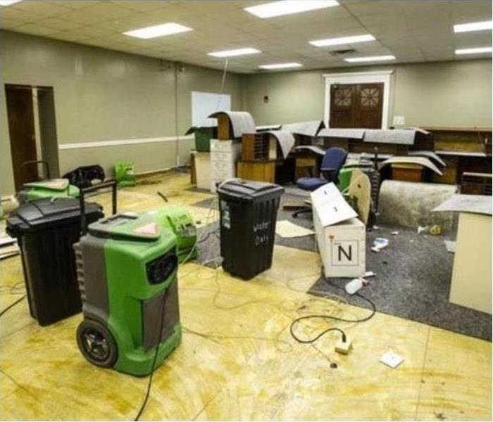 Hotel meeting room with SERVPRO drying equipment set up