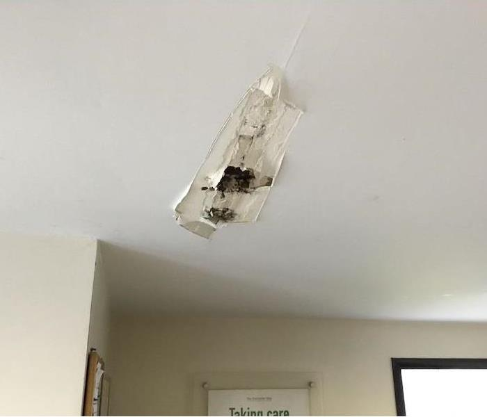 Ceiling with breakage and water spots from storm damage