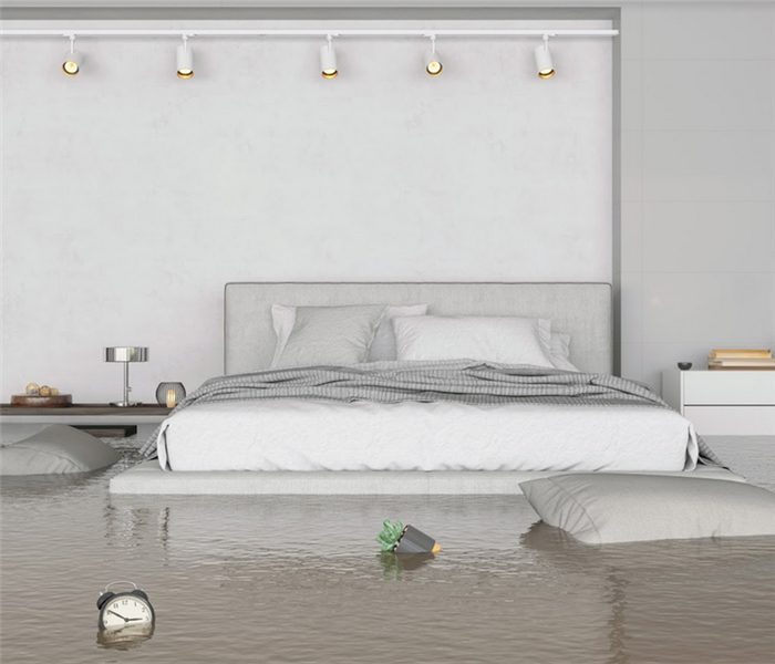 flooded bedroom with pillows floating