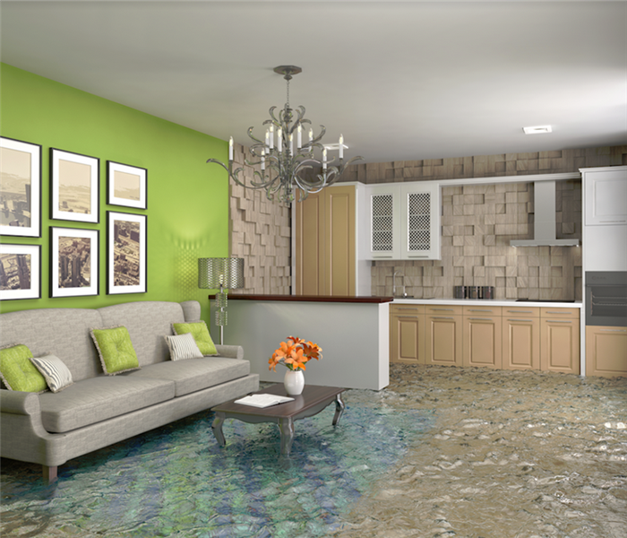 a flooded room of a house
